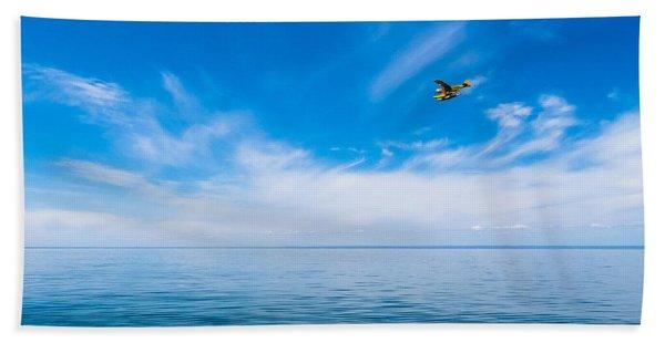 Seaplane Over Lake Superior   Beach Towel