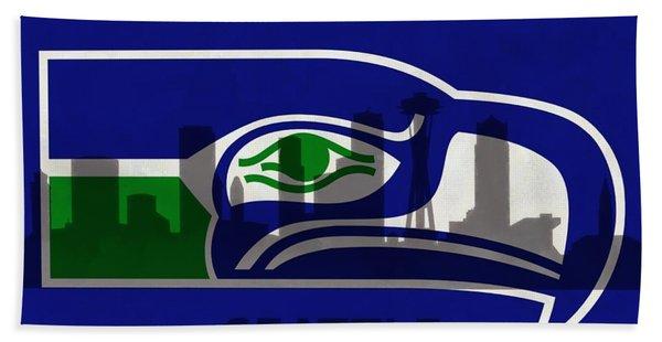 Seattle Seahawks On Seattle Skyline Beach Towel