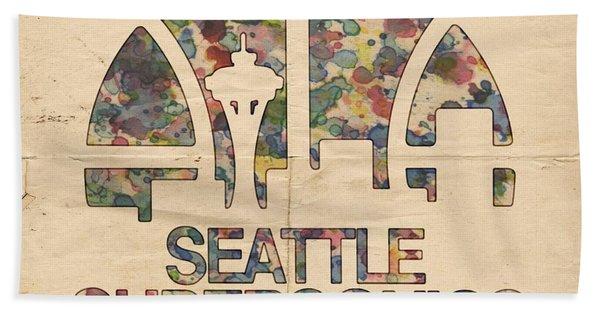 Seattle Supersonics Poster Vintage Beach Towel