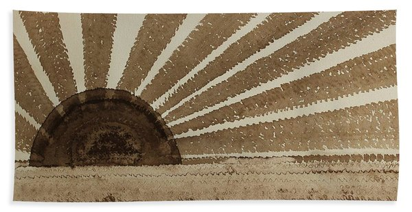 Sepia Sunset Original Painting Beach Sheet