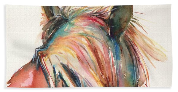 Horse Painting In Watercolor Serendipity Beach Towel
