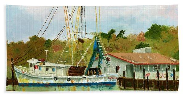 Shrimp Boat At Dock Beach Sheet
