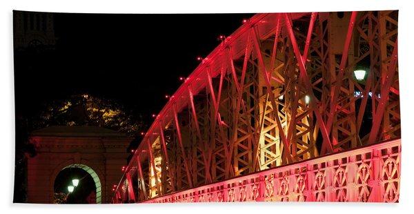 Singapore Anderson Bridge At Night Beach Towel