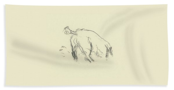Sketch Of A Dog Digging A Hole Beach Towel