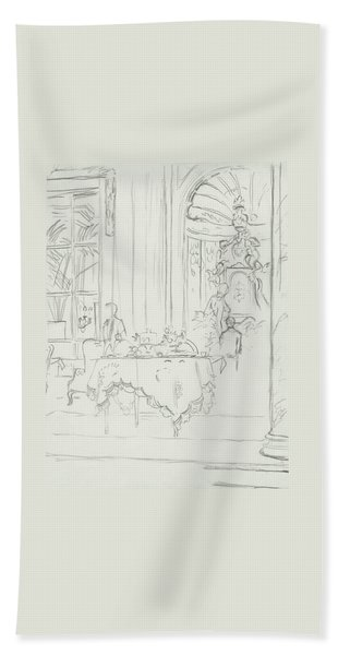 Sketch Of A Formal Dining Room Beach Towel