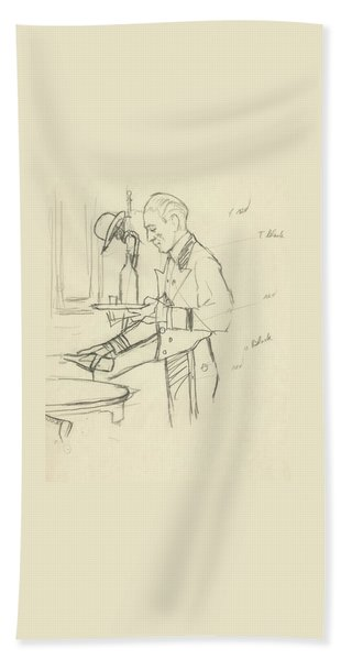 Sketch Of Waiter Pouring Wine Beach Towel