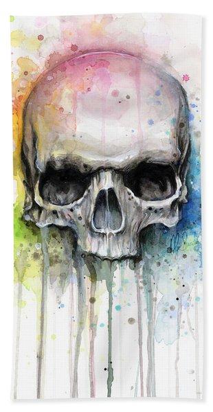 Skull Watercolor Painting Beach Towel