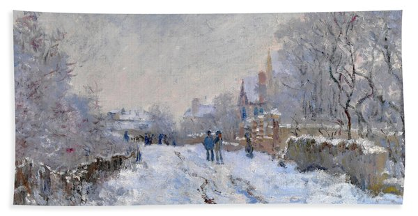 Snow Scene At Argenteuil Beach Towel