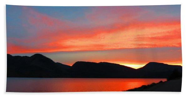 Spectacular Sunset On The Lake. Yellowstone. Beach Towel