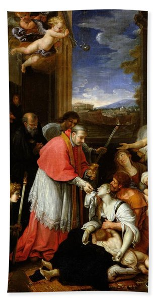St. Charles Borromeo 1538-84 Administering The Sacrament To Plague Victims In Milan In 1576 Oil Beach Towel