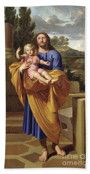 St. Joseph Carrying The Infant Jesus Beach Towel