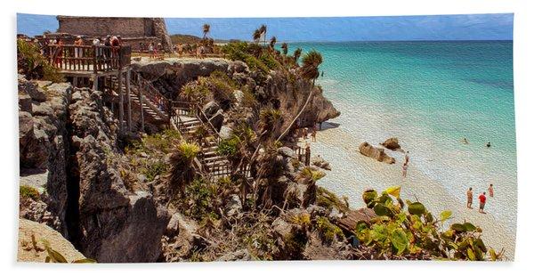 Stairway To The Tulum Beach  Beach Towel