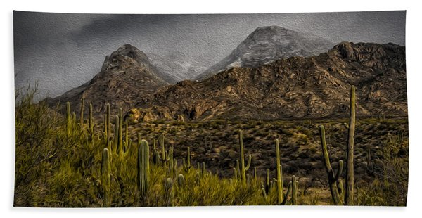 Storm Over Catalinas Aso Beach Towel