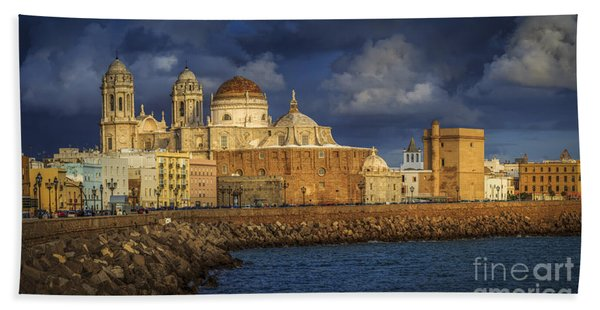 Stormy Skies Over The Cathedral Cadiz Spain Beach Towel