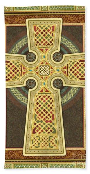 Stylized Celtic Cross Beach Sheet