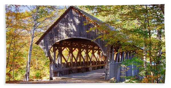 Beach Towel featuring the photograph Sunday River Covered Bridge by Jeff Folger