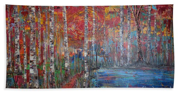 Beach Towel featuring the painting Sunlit Birch Pathway by Jacqueline Athmann