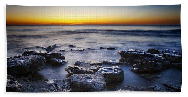 Sunrise At Cave Point Beach Towel