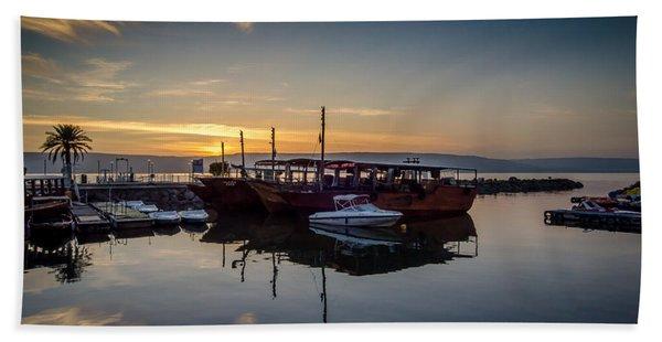 Sunrise Over The Sea Of Galilee Beach Towel