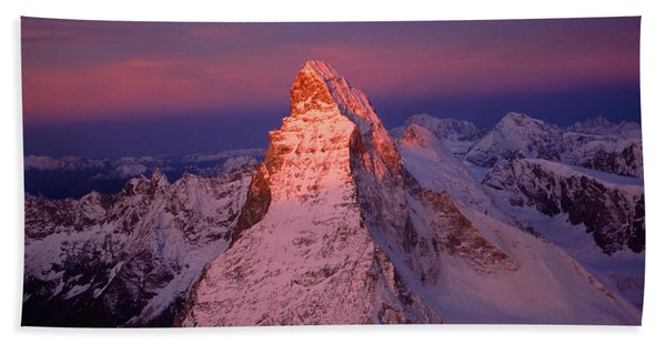 Sunset At Eastern Face Of Matterhorn Beach Towel