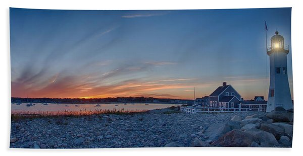 Beach Towel featuring the photograph Sunset At Scituate Light by Jeff Folger