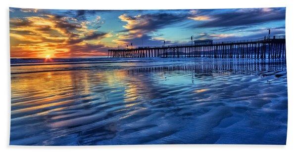 Sunset In Blue Beach Sheet