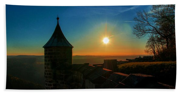 Sunset On The Fortress Koenigstein Beach Towel