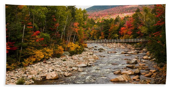 Beach Towel featuring the photograph Swift River Painted With Autumns Paint Brush by Jeff Folger