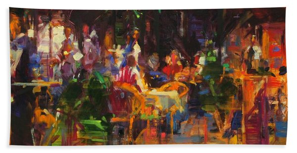 Table At Villefranche Oil On Canvas Beach Towel