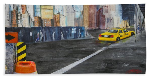 Taxi 9 Nyc Under Construction Beach Towel