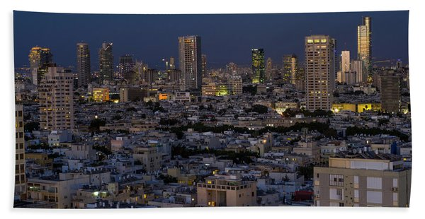 Tel Aviv At The Twilight Magic Hour Beach Sheet