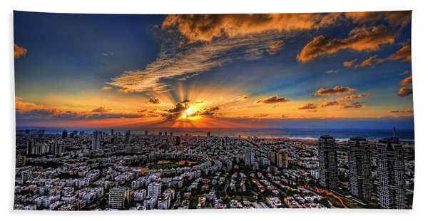 Tel Aviv Sunset Time Beach Sheet