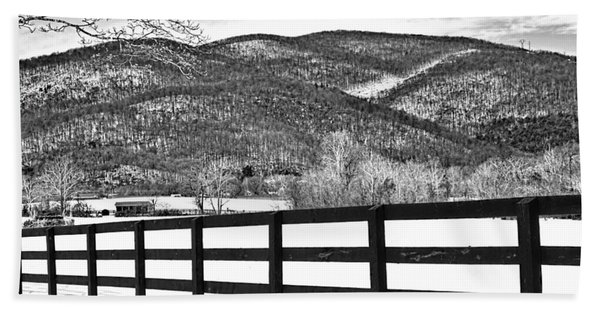 Beach Towel featuring the photograph The Fenceline B W by Jemmy Archer
