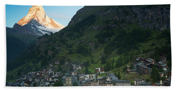 The First Sun Light On The Matterhorn Beach Towel
