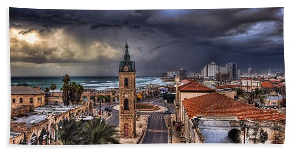 the Jaffa old clock tower Beach Sheet