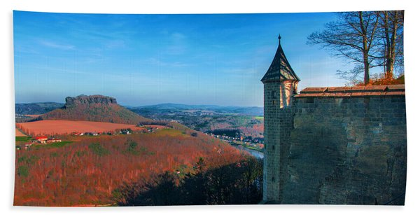 The Lilienstein Behind The Fortress Koenigstein Beach Towel
