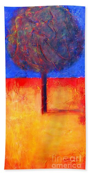 The Lonely Tree In Autumn Beach Towel