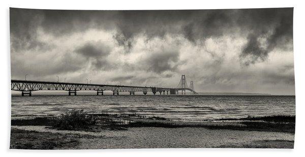 The Mackinac Bridge B W Beach Towel