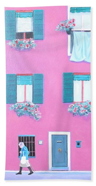 The Pink House With Green Shutters Beach Towel