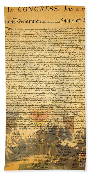 The Signing Of The United States Declaration Of Independence Beach Towel