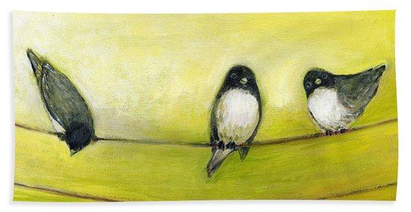 Three Birds On A Wire No 2 Beach Towel