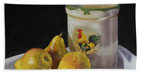 Beach Towel featuring the painting Three Pears by Judy Bradley
