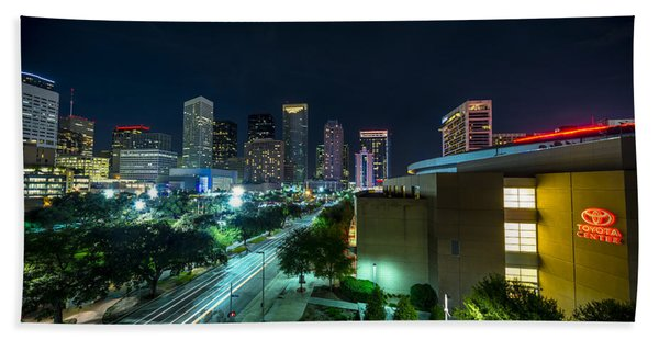 Toyota Center And Downtown Houston Beach Towel