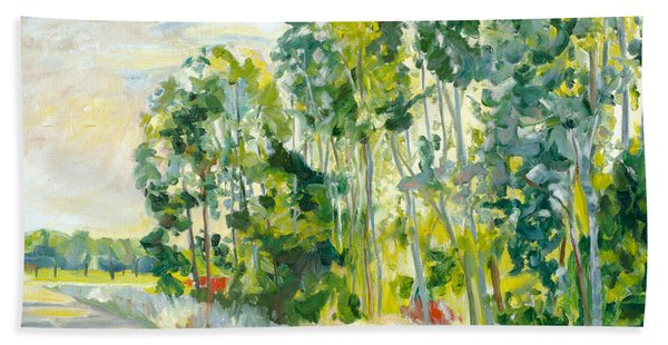 Trees By A Road Beach Towel