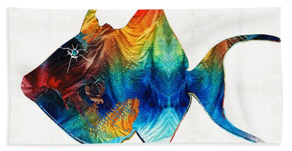 Trigger Happy Fish Art By Sharon Cummings Beach Towel