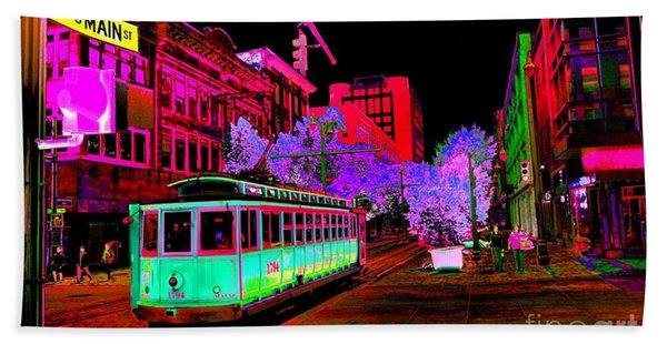 Trolley Night Digital  Beach Towel