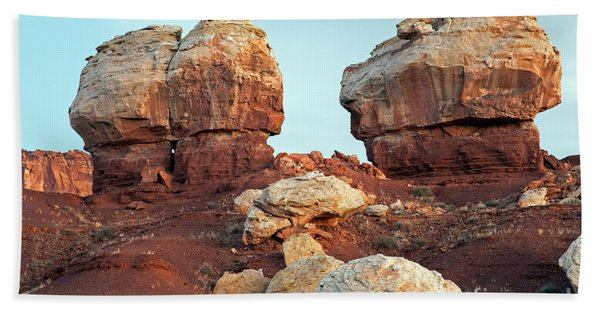 Twin Rocks At Sunrise Capitol Reef National Park Beach Towel