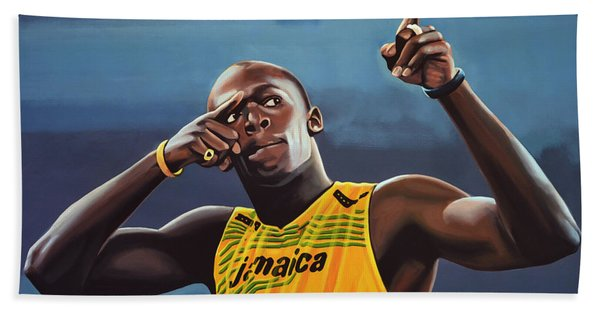 Usain Bolt Painting Beach Towel