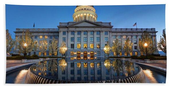 Utah State Capitol In Reflecting Fountain At Dusk Beach Towel