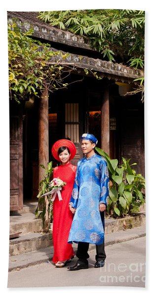 Vietnamese Wedding Couple 01 Beach Towel